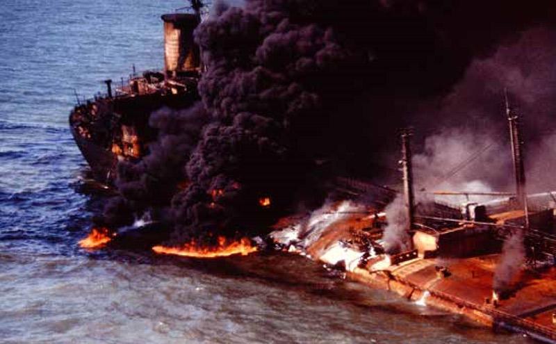 Burmah Agate ablaze 1979