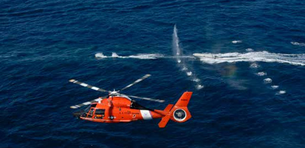 A Hitron MH-65 Dolphin fires on a simulated drug smuggling vessel during a training exercise. USCG Photo