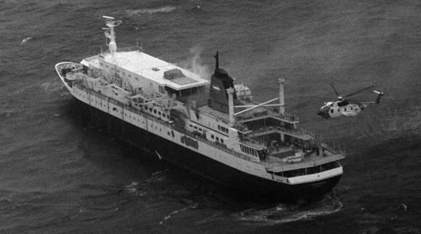HH-3F 1472 hovers above the crippled cruise ship Prinsedam, October 1980. USCG Photo